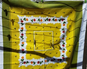 Tablecloth thick cotton vintage orange and red roses on mustard olive and white shabby chic