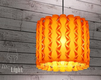 Modern lighting - Pendant lighting - Ceiling light - 60s retro lamp - Rhombus pattern - Sunset orange lamp - Pendant lamp - Ceiling lighting