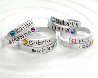 Birthstone Wrap Rings - Mother's Ring - Personalized Hand Stamped Rings - Super Skinny Adjustable Aluminum Or Sterling Silver Ring