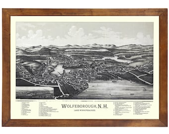 Wolfeborough, NH 1889 Bird's Eye View; 24x36 Print from a Vintage Lithograph
