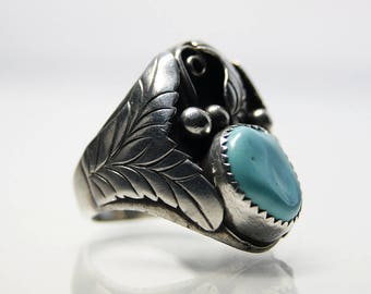 Navajo Turquoise Ring Sterling Silver Size 11 Vintage