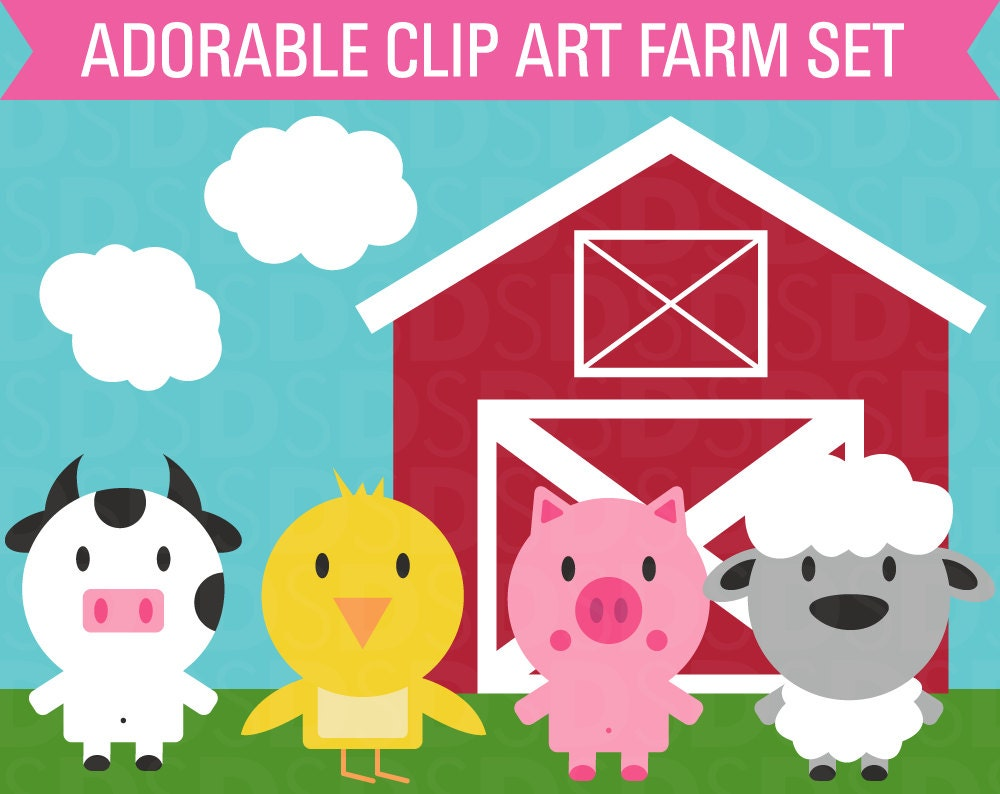Clipart Farm Animal Set Barn Cow Chicken Sheep Pig and Clouds for Kitchen Wallpaper Clipart  585eri