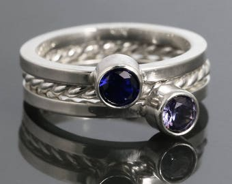 3 Stackable Rings: 2 Lab-Created Birthstone Rings & 1 Twisty Ring. Sterling Silver. Made to Order.
