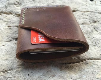 Minimalist leather wallet/ personalized wallet/ custom gift/ gift for him/ groomsmen gift/ horween wallet/ leather wallet