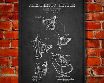 1941 Anesthetic Device Patent Canvas Art Print, Wall Art, Home Decor, Gift Idea