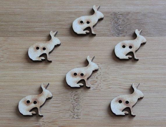 6 Craft Wood Jack Rabbit  buttons, 2.5 cm Wide, Laser Cut