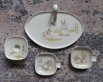 Lovely Vintage Edelstein Bavaria Ceramic Set- Matching Tray, Two Ashtrays and Candleholder- Numbered and Signed- Don Giovanni