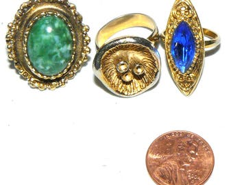 Three Vintage Rhinestone Rings