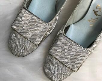 Vintage 60's Mr. Easton Silver Heels Shoes