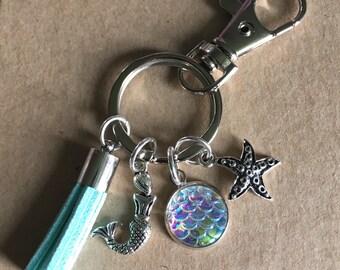 Mermaid Keychain, Tassel Keychain, Mermaid Scale Keychain, Starfish Keychain
