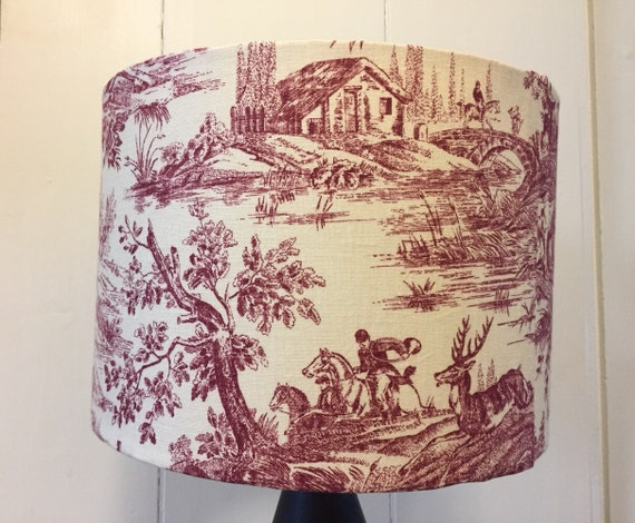 Victorian hunting scene red toile lampshade like this item aloadofball Choice Image
