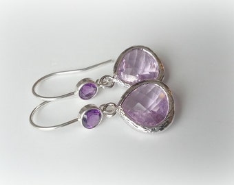 ON SALE!!!  Amethyst cz and Lavender Faceted Framed Glass Crystal Earrings .925 Sterling Silver Amethyst CZ French Hooks