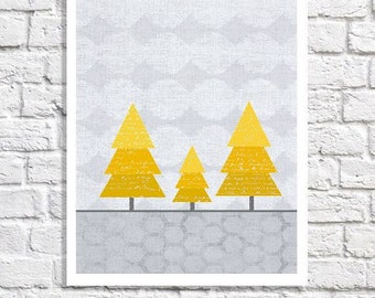 Yellow And Gray Nursery Wall Art For Girls Room Decor Trees Print Children Picture Gender Neutral Decor Woodland Forest Poster Baby Boy Idea
