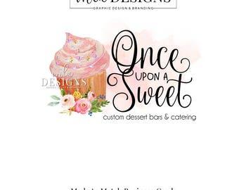 Cupcake Logo - Bakery Logo, Watercolor Logo, Cake Boutique Logo, Logo, Boutique Logo, Premade Logo, Custom Logo, Cupcake Logo