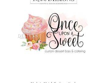 Cupcake Logo - Logo boulangerie, aquarelle Logo, gâteau Boutique Logo, Logo, Logo de la Boutique, Premade Logo, Logo personnalisé, gâteau Logo