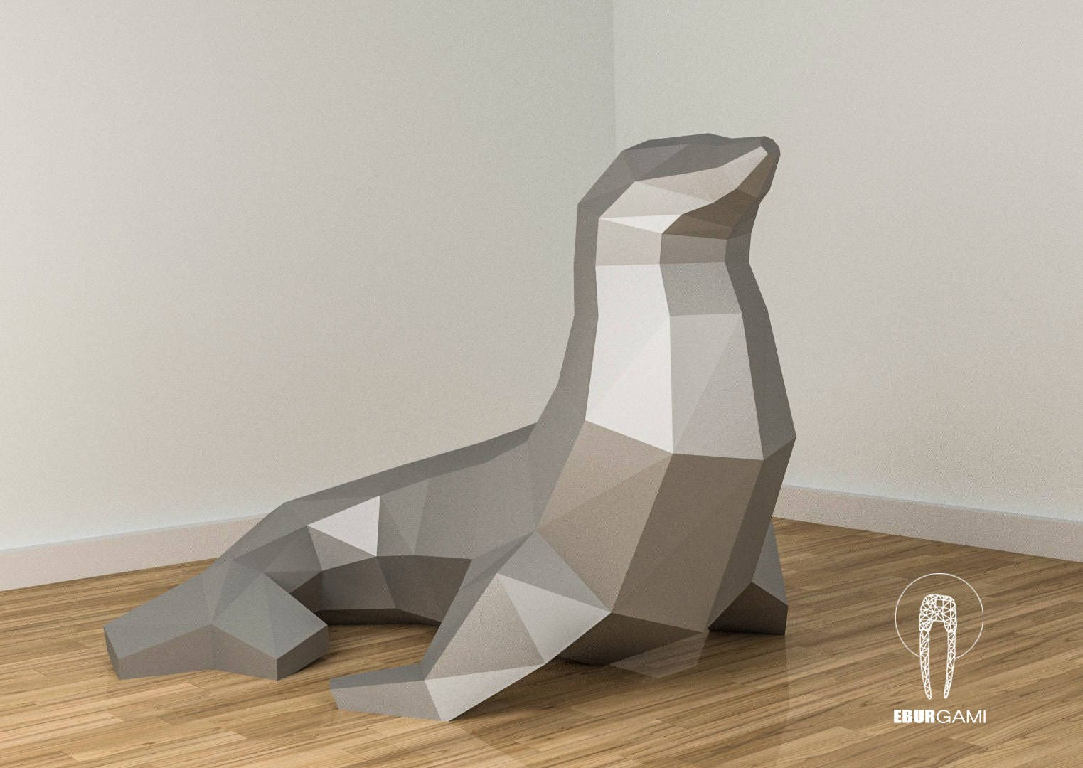 Low poly seal model create your own 3d papercraft seal origami this is a digital file jeuxipadfo Gallery