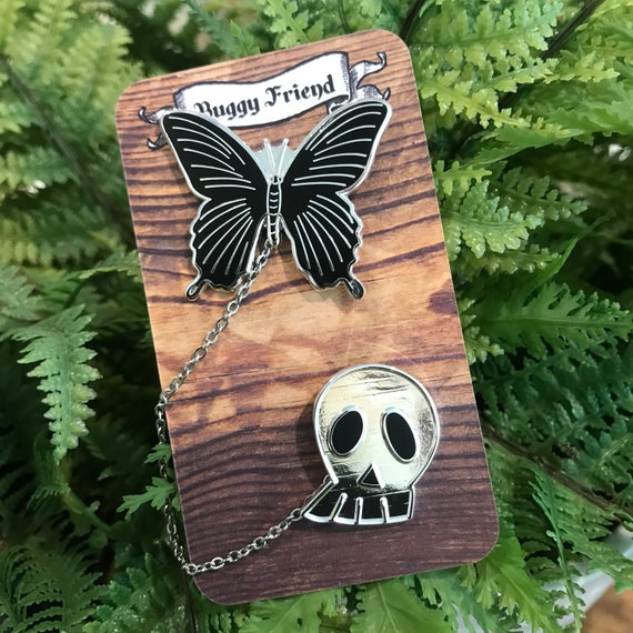 My pet bug- black butterfly and skull lapel pin set!