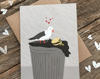 funny love card / funny anniversary card / seagull