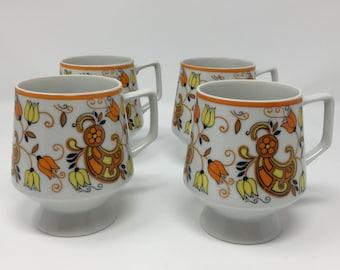 Set of 4 Vintage Orange Pedestal Mugs Mod Floral Paisley 1960s White Porcelain