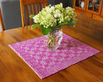 Magenta and White Table Runner Hand Woven Overshot Table Runner, Wool and Cotton Table Runner Handwoven, Magenta and White Overshot Runner