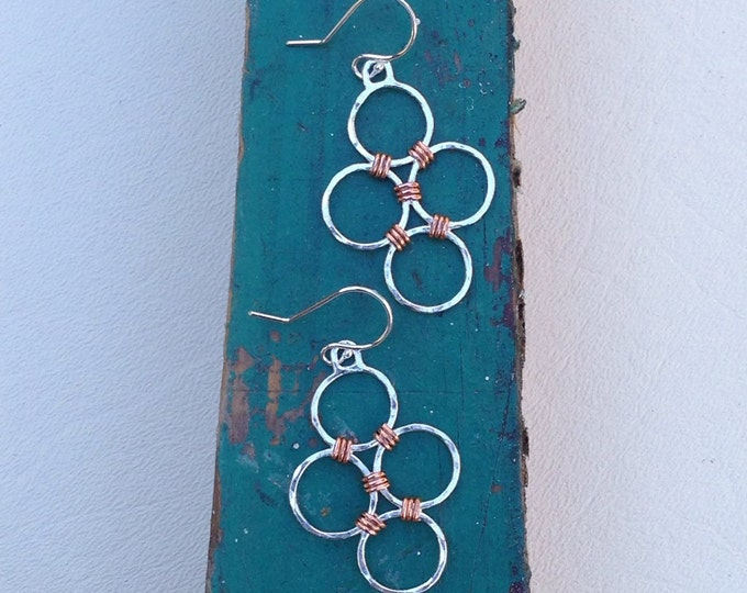 Sterling silver and copper circle dangle handmade earrings