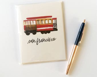 Cable Car Notecard, Blank Notecard and Envelope, San Francisco Souvenir, Folded Stationery, Bay Area A2 Greeting Card, 4.25 in. x 5.5 in.