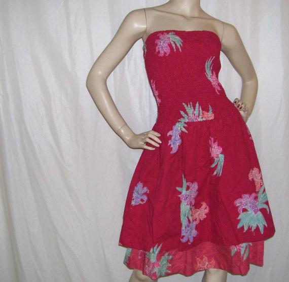 Hawaii Kleid Luau Tiki Partei Jahrgang Sommerkleid 80er Jahre