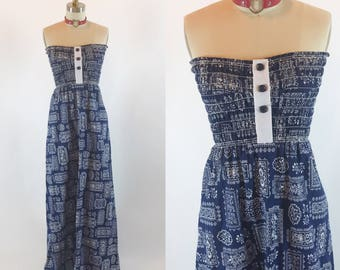 Vintage 70s Tube Handkerchief Floral Maxi Dress