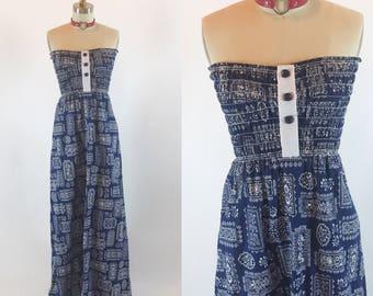 Vintage 70er Jahre Tube Taschentuch floralen Maxi-Kleid