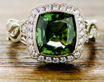 Large Green Sapphire Engagement Ring in 14K White Gold with Diamonds in Flowers Leafs on Vine & Warm White Finish Size 7
