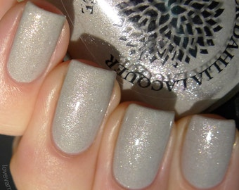 Light gray shimmer nail polish with flakies by Black Dahlia Lacquer - Lily of the Valley -- vegan, 5-free and handmade