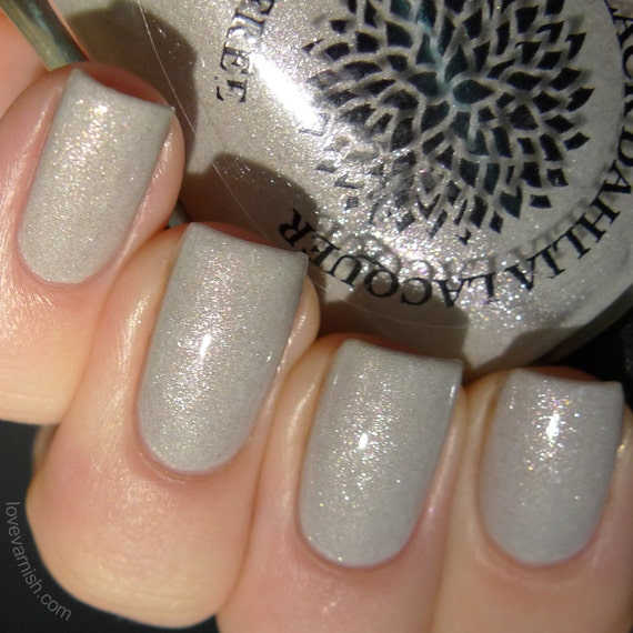 Light Gray Shimmer Nail Polish With Flakies By Black Dahlia