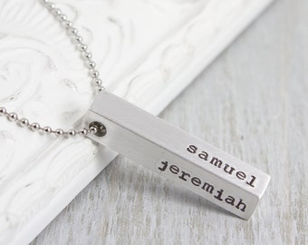 Personalized Bar Necklace - Custom Name Necklace - Personalized Jewelry - Hand Stamped Bar Necklace - Kids Name Necklace