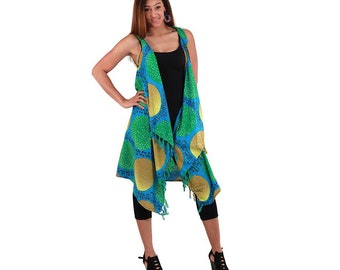 Africa Traditional  African Print Sarong: Blue/Yellow/Green