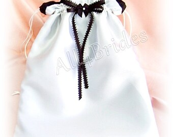 Black and white satin weddings bridal money dance bag.
