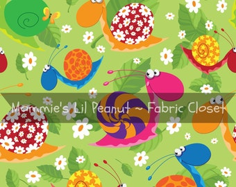 Happy Snails MLP MLP Custom Cotton/ Lycra Jersey Knit Mommie's Lil Peanut Exclusive sewing apparel fabric By The Yard MLP-1604