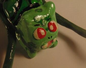 Handmade Bulbasaur Sculpture, Pokemon, Grass-Type, Green, Polymer Clay, Vine Whip, Plant