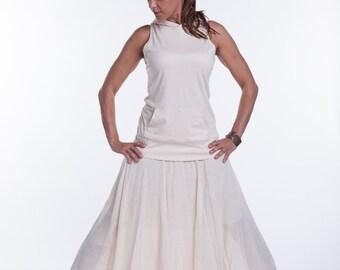 Organic Cotton Natural Gauze Long Skirt