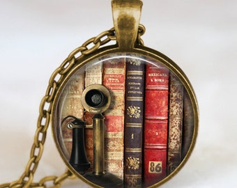 Vintage books pendant necklace , Book lover pendant , Books  jewelry ,  librarian gift, writer ,teacher , book nerd gift necklace