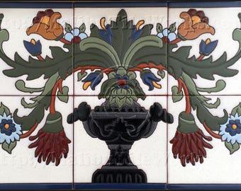 Flowering Urn 2 - Tile Mural
