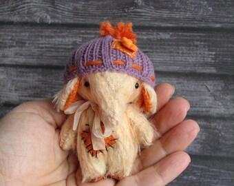Handmade mini jointed teddy bear Elephant by Woollybuttbears