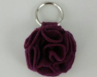 Prickly Purple Ruffled Felt Flower Keychain Key Chain Handmade Gift Felt Flower Keyring Under 10 dollars Sweet 16 Flower Floral Key Ring