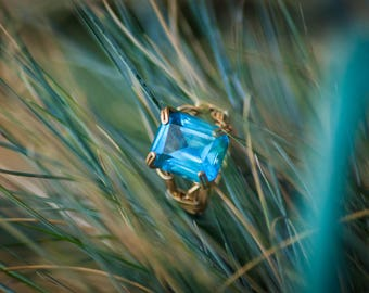 Blue Topaz Ring, One of a Kind, Unique and Handcrafted.