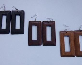 Square Hoops Square Peephole Wood Earrings Wooden Earrings Natural Stained Wood Brown Black Pecan
