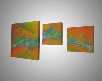 Contemporary abstract painting. Contemporary panoramic painting with acrylics. Abstract canvas 60x140cm. Goartdeco.