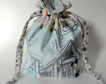 Zombie Drawstring Bag Book Toys Dice Cards Gift Blue White Grey