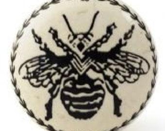 Wasp / Insect Ceramic Drawer Knob  -  Metal Upcycling Project