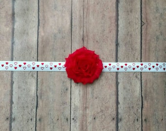 Shabby flower on red and white heart polka dot elastic headband for baby, toddler and adult
