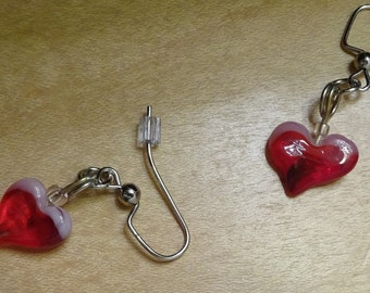 Pink and Red Glass Heart Earrings (E21)