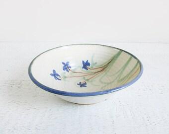 floral studio pottery bowl / large vintage ceramic bowl with blue flowers